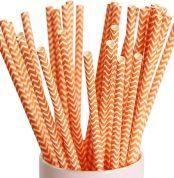 orange wave paper straws